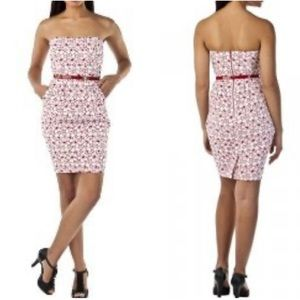 Jean Paul Gaultier Red/White Eyelet Strapless Dres